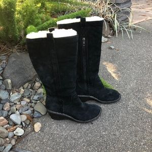 UGG Black Suede Shearling Lined Tall Wedge Boots